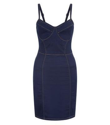 Parisian Blue Denim Structured Bodycon Dress New Look
