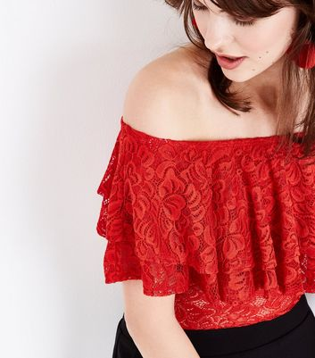 Red Lace Frill Bardot Neck Bodysuit New Look