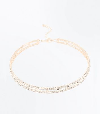Rose Gold Diamante Embellished Torque Necklace New Look