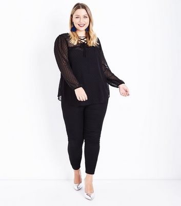 Curves Black Long Sleeve Lace Up Front Blouse New Look