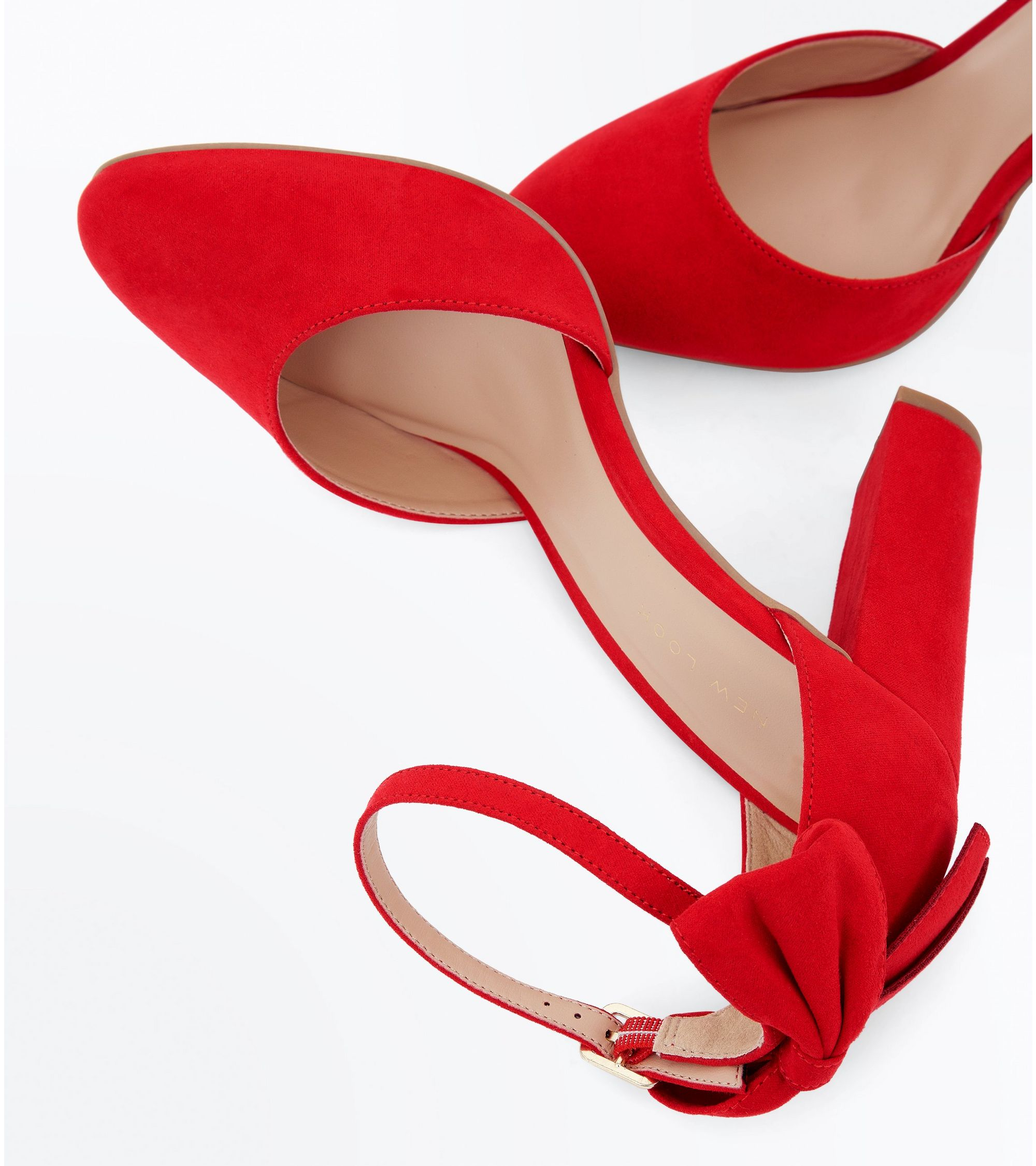4325663f1c32 New Look Wide Fit Red Suedette Bow Back Heels at £27.99