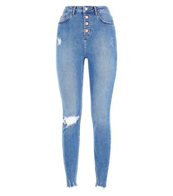 Tall Blue Ripped Button Front High Waist Skinny Jeans New Look