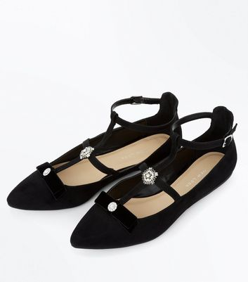Wide Fit Black Suedette Cross Strap Embellished Pumps New Look