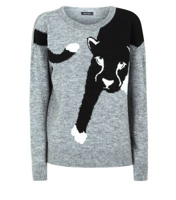 Pale Grey Panther Jumper New Look