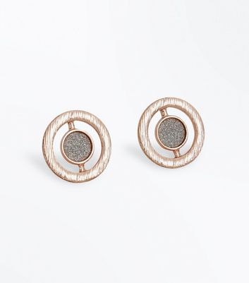 Rose Gold Textured Sparkle Stud Earrings New Look