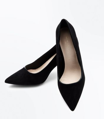 Black Comfort Flex Suedette Pointed Court Heels New Look