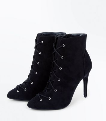 Wide Fit Black Suedette Lace Up Stiletto Shoe Boots New Look