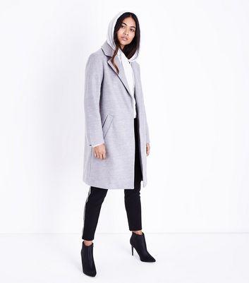 Petite Grey Longline Collared Coat New Look