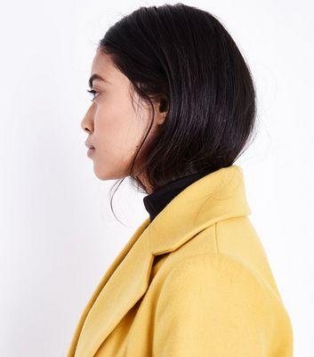 Petite Yellow Longline Collared Coat New Look
