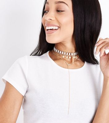 Gold Layered Diamante Chain Choker New Look
