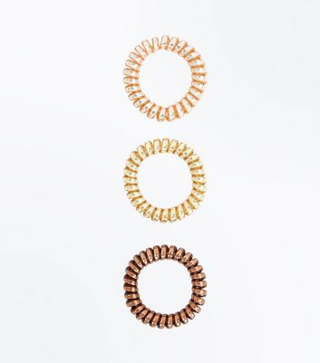 3 Pack Brown Metallic Spiral Bobbles New Look