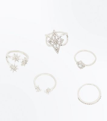 5 Pack Silver Crystal Star Rings New Look