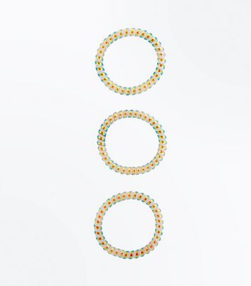 3 Pack Rainbow Spiral Hair Bobbles New Look