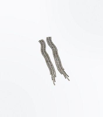 Pewter Diamante Embellished Tassel Earrings New Look