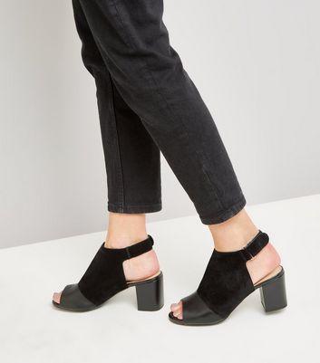 Black Leather Comfort Flex Sling Back Block Heels New Look