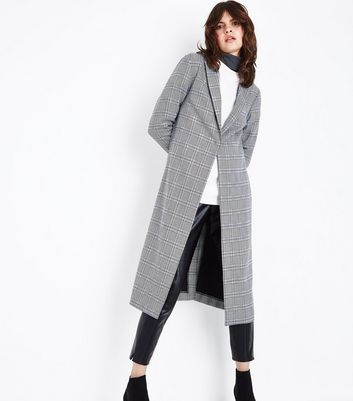 Grey Check Pattern Duster Coat New Look