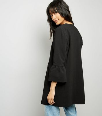 Black Collarless Frill Sleeve Coat New Look