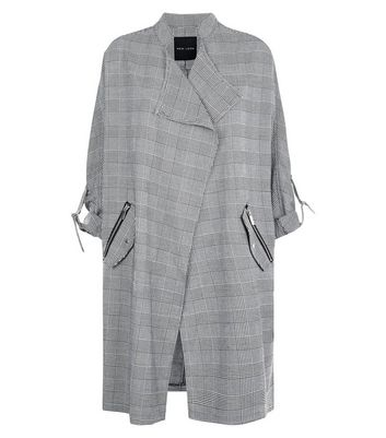 Black Check Waterfall Duster Jacket New Look