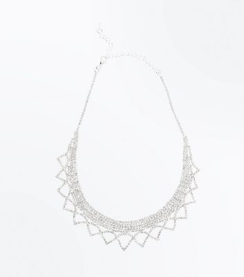 Silver Diamante Embellished Scallop Trim Necklace New Look