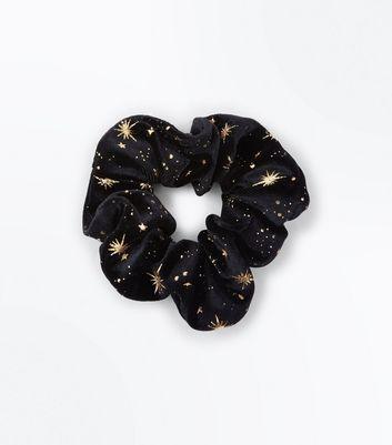 Black Velvet Metallic Star Scrunchie New Look
