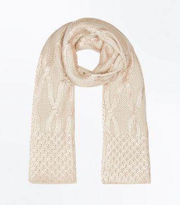 Cream Cable Knit Scarf New Look