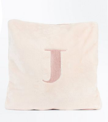 Pink Embroidered J Initial Cushion New Look