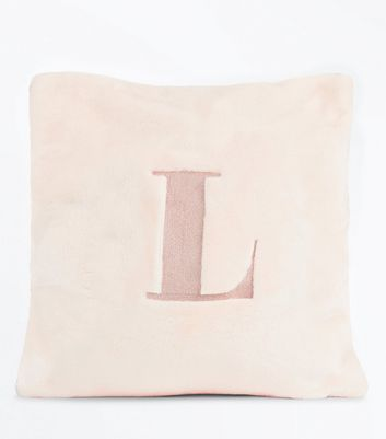 Pink Embroidered L Initial Cushion New Look