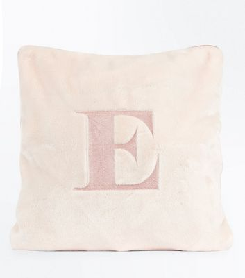 Pink Embroidered E Initial Cushion New Look