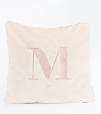 Pink Embroidered M Initial Cushion New Look