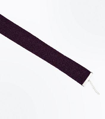 Dark Purple Glitter Wide Choker New Look