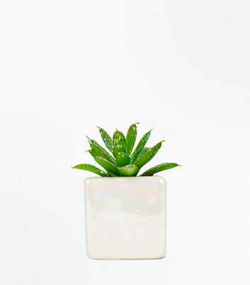 White Iridescent Glitter Faux Plant New Look