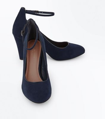 Navy Comfort Flex Piping Trim Ankle Strap Heels New Look