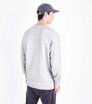 Pale Grey Longline Sweatshirt New Look