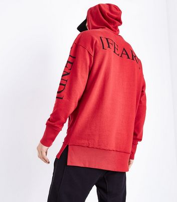 Red Print Sleeve Hoodie New Look