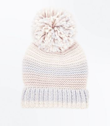 Pink Colour Block Knitted Bobble Hat New Look