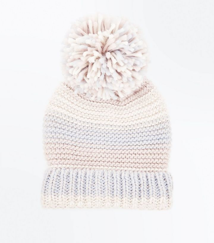 8745bc55004 Pink Colour Block Knitted Bobble Hat