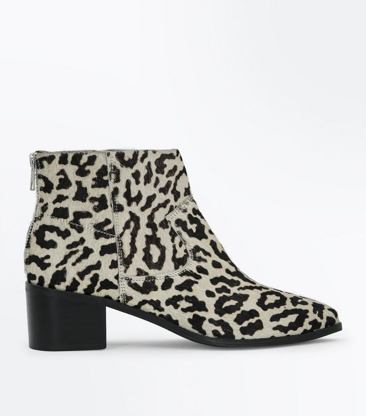 03b30c6ea282 Stone Premium Leather Faux Pony Hair Leopard Print Boots | New Look