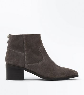 Grey Premium Suede Block Heel Ankle Boots New Look
