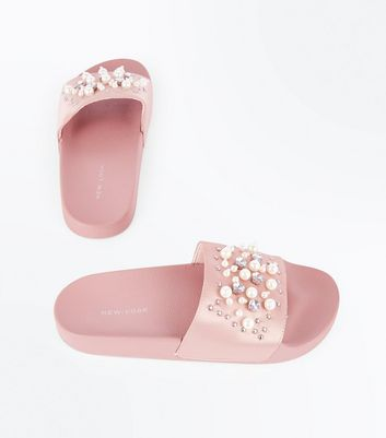 Pink Satin Faux Pearl Embellished Sliders New Look