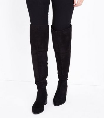 Black Suedette Metal Trim Over the Knee Boots New Look