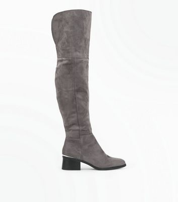 Grey Suedette Metal Trim Over The Knee Boots New Look