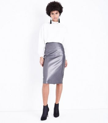 Silver Leather-Look Pencil Skirt New Look