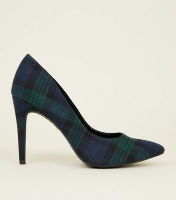 Green Prince Of Wales Check Pointed Court Shoes by New Look