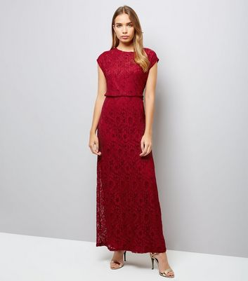 Mela Red Lace Maxi Dress New Look