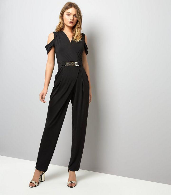 6a029547d203 Mela Black Belted Cold Shoulder Jumpsuit