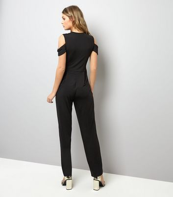 Mela Black Belted Cold Shoulder Jumpsuit New Look