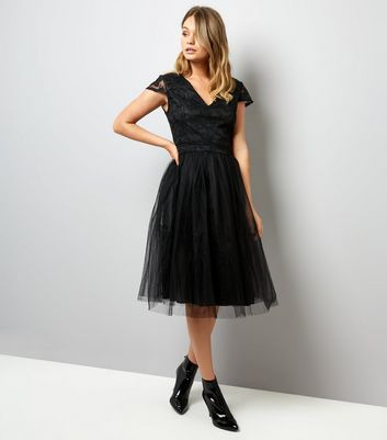 Mela Black Lace and Tulle Skirt Prom Dress New Look
