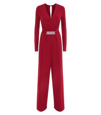 Mela Burgundy Filigree Belted Wide Leg Jumpsuit New Look