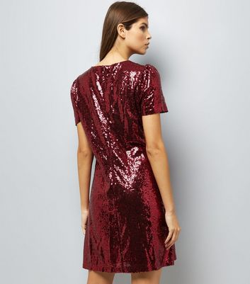 Mela Red Sequin Cap Sleeve Dress New Look