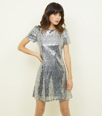 Mela Silver Sequin Cap Sleeve Dress